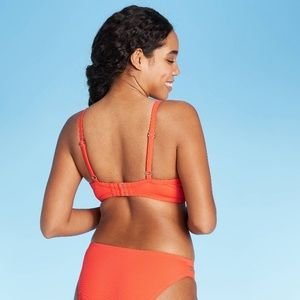 Shade & Shore Swim - Light Lined Ribbed Bikini Top Hot Orange